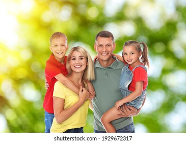 Happy family with children outdoors on sunny day