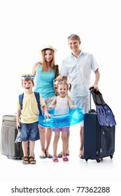 A happy family with children and suitcases isolated