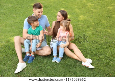 0e5b9e87ae9d Happy Family Children Together Green Park Stock Photo (Edit Now ...