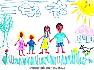 A happy family. Children's drawing.