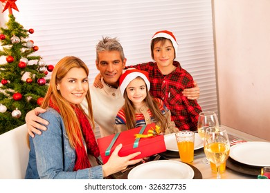 Happy family Christmas scene.