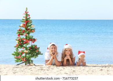 Happy family and Christmas tree on beach