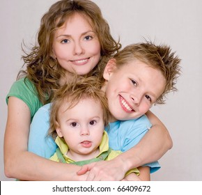 Happy family in color shirts