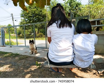 Happy family concept : mother and child girl sitting on swing.
