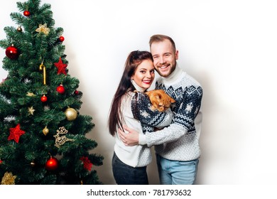 happy family couple in sweaters with cat near christmas tree