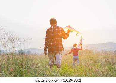 happy family dad and child run on meadow with a kite in the summer on the nature.vintage style.