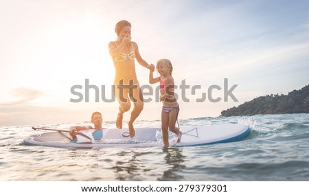 happy family diving in