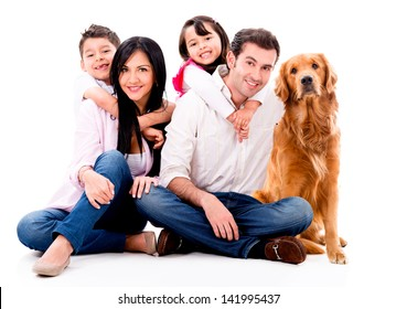 Happy family with a dog - isolated over a white background
