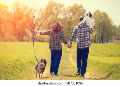 Happy family with dog walking on the rural dirt road on the field. Little girl sitting on dad's shoulder. Woman and man holding hands. Woman keeps her dog on a leash. Family and dog back to camera