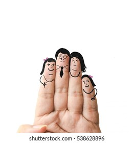 happy family drawing on fingers on white backgorund