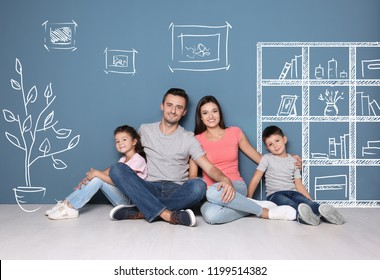 Happy family dreaming about moving into new house on color wall background