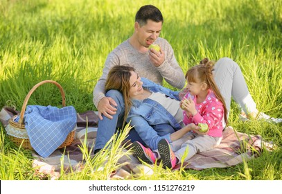 Happy family eating apples on a picnic in park