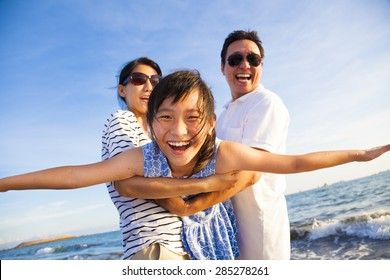 happy family enjoy summer vacation on the beach