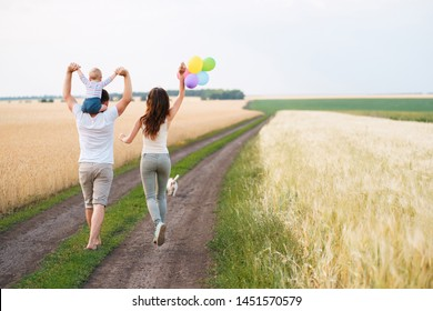 Happy family, father, mother and baby son with bunch of balloons on nature at sunset