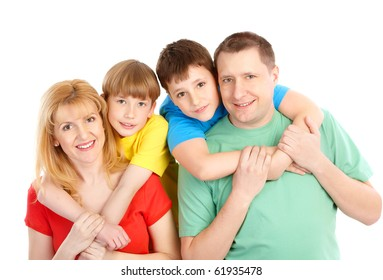 Happy family. Father, mother and boys. Over white background
