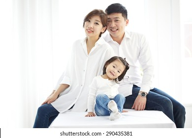 Happy family. Father, mother and children.