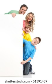 Happy family. Father, mother and children. . Over white background