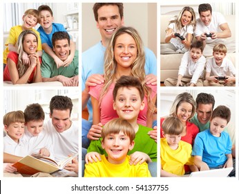 Happy family. Father, mother and children working with laptop and reading.