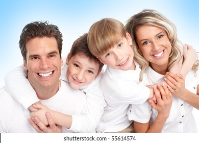 Happy family. Father, mother and children. Over blue background