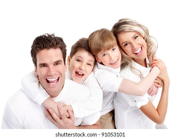 Happy family. Father, mother and children. Over white background
