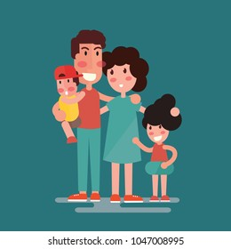 Happy family. Father, mother, son and daughter together- flat design