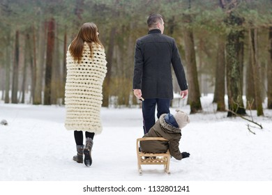 Happy Family Father Mother Son Walking in Snowy Forest, Park, Outdoor