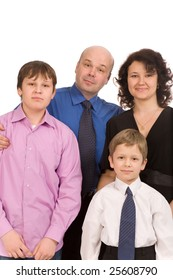 happy family of four people on a white background