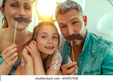 happy family fun making selfie