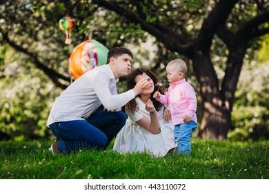 Happy family in the garden