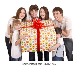 Happy family with gift box. Isolated.