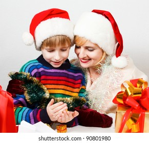 Happy family with a gifts