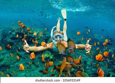 Happy family - girl in snorkeling mask dive underwater with tropical fishes in coral reef sea pool. Travel lifestyle, water sport outdoor adventure, swimming lessons on summer beach holiday with kids