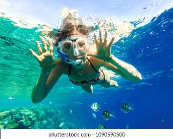 Happy family, girl in snorkeling mask dive underwater with fishes in coral reef sea. Travel lifestyle, water sport outdoor adventure, summer beach holidays with child.