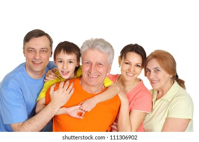 Happy family having fun in bright T-shirt on a white background