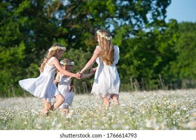 Fröhliche Familie, die Spaß im Freien hat. Porträt von glücklicher Familie auf dem Lande. Fröhliche Leute im Freien. Viererfamilie im Kamillenfeld.