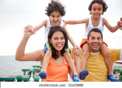 happy family having fun outdoors while on vacation