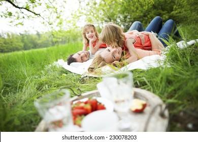Happy family having picnic in nature
