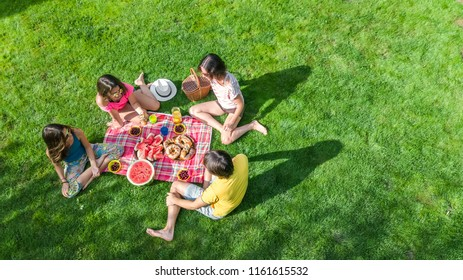 Happy family having picnic in park, parents with kids sitting on grass and eating healthy meals outdoors, aerial view from above, family vacation and weekend concept