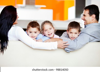 Happy family at home spending time together