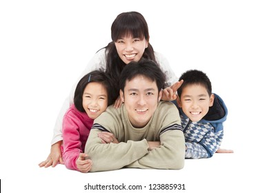 Happy family and isolated on white