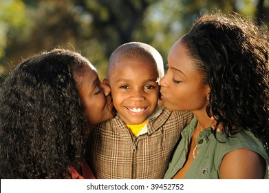 Happy Family Kiss