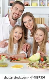 happy family at kitchen