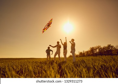 Happy family with a kite playing at sunset in the field