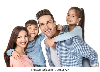 Happy family with little children on white background