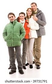 Happy family members in warm jackets over white background