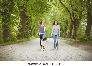 Happy family - mom and daughter, walking with dog. Woman and girl with Australian shepherd dog. Mother and child go on road in city park. They are talking and enjoying beautiful day.