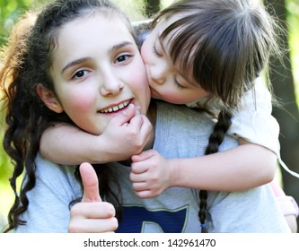 Happy family moments - sisters have a fun