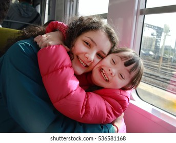 Happy family moments in the train.