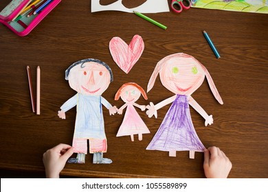 happy family: mother, father, child. love. kid craft. family day
