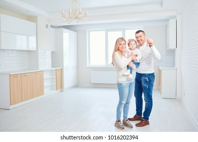 A happy family moves to a new apartment.